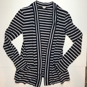 J.Crew Striped Navy and White Cardigan